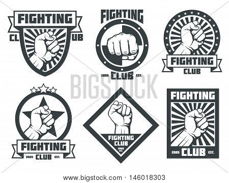 Fighting club vintage emblems labels badges logos with man fist. Vector illustration