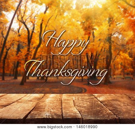 Happy Thanksgiving Day. Beautiful nature background with wooden floor
