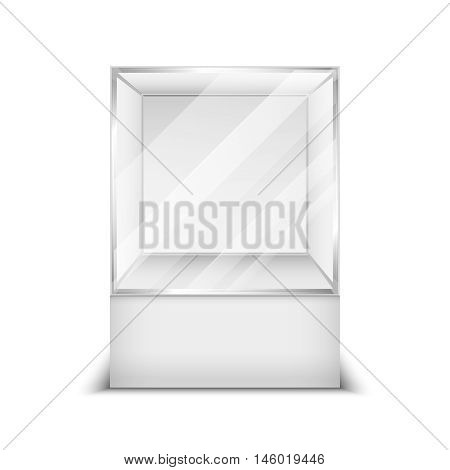 Realistic 3d glass box shop showcase vector illustration. Container empty transparent for boutique and exhibition poster
