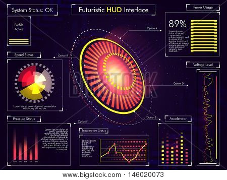 Futuristic Head Up Display Interface UI, UX design, big set of infographic elements, virtual technology background with statistical bars, graphs and charts.