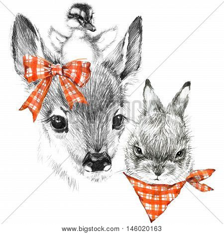 Cute fawn, dukling and bunny. pencil sketch of fawn. Animal illustration. T-shirt design.