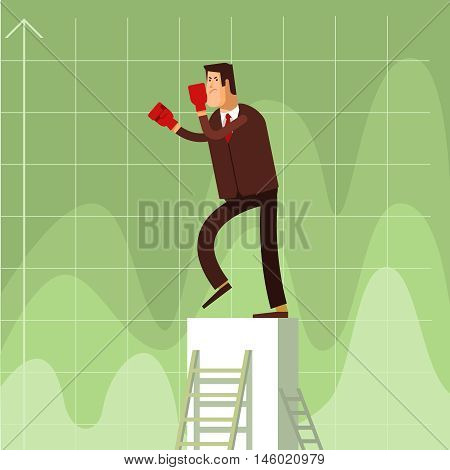 Businessman in red Boxing gloves strike business to competitors. Vector flat illustration of a business competition concept