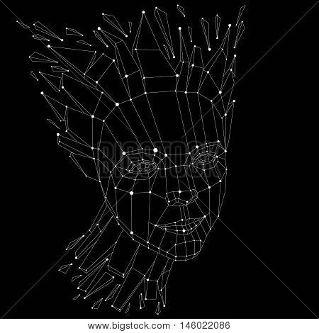 3d vector portrait created with lines mesh. Intelligence allegory black and white low poly face with splinters which fall apart head exploding with ideas thoughts and imagination.