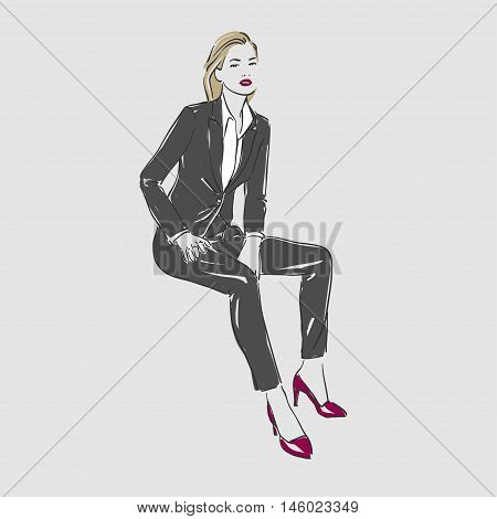 Beautiful Young Women In Business Suit. Vector Illustration