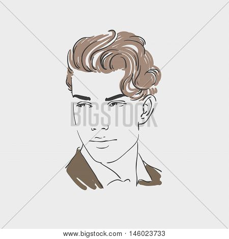 Handsome young man vector hand drawn illustration
