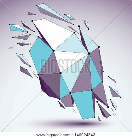 Abstract 3D Faceted Figure With Connected Black Lines And Dots. Vector Blue Low Poly Shattered Desig