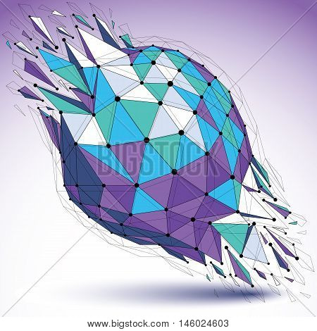 Abstract Vector Low Poly Wrecked Object With Black Lines And Dots Connected. 3D Origami Futuristic S