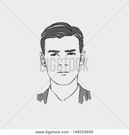 Handsome Young Man Vector Hand Drawn Illustration.
