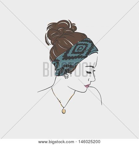 Beautiful Young Women In  Turban . Vector Hand Drawn Illustration.