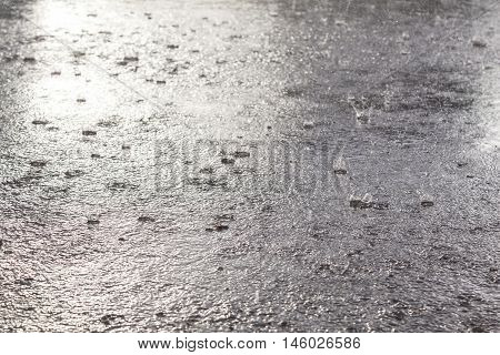 Rain flood in September. Its cold outdoor.