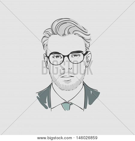 Handsome Young Man In Glasses. Hand Drawn Vector Illustration.