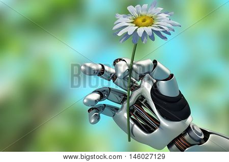 The mechanical arm and a flower.3d render