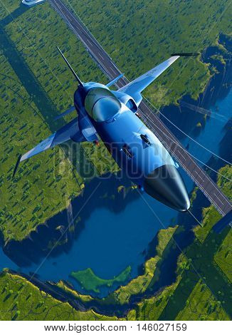 Military aircraft over the bridge.  ,3d render