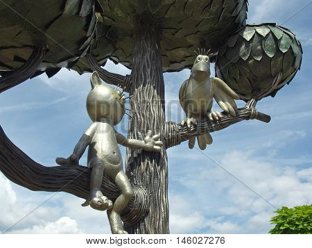 Voronezh, Russia - July 08, 2014: Detail of the monument to the kitten from the street General Lizyukova in Voronezh