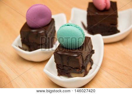 Slices of mini chocolate cakes on a plate