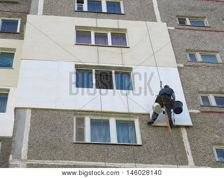 Thermal insulation of the exterior wall panel house with rope