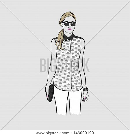 Beautiful Young Women In A Blouse With Bag And Glasses. Vector Hand Drawn Illustration.