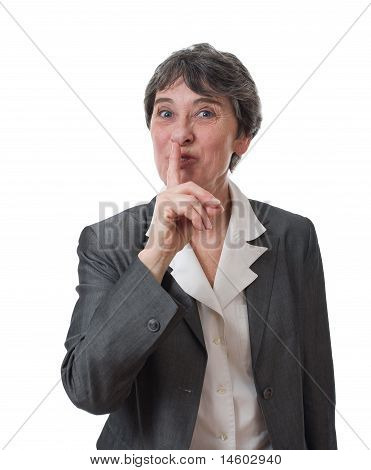 woman saying shh
