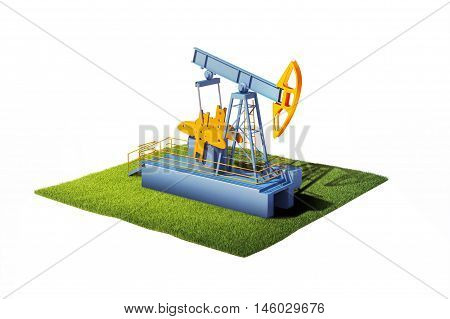 3d illustration of ground with grass and oil pump jack isolated on white