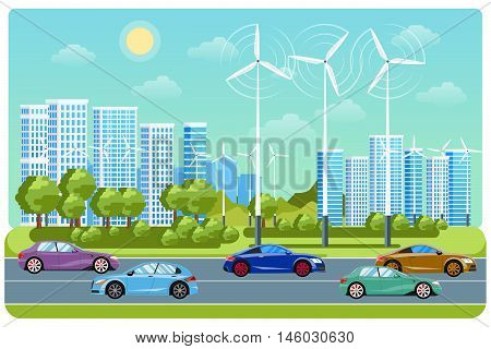 City life and urban landscape. Electricity automobile, windmill city, life environment, car eco, electric traffic infrastructure, vector illustration