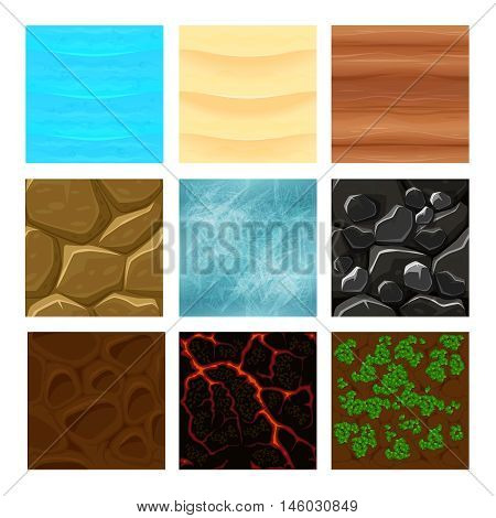 Game ground textures vector. Sea and ground, sand and lava texture game, interface gaming texture illustration