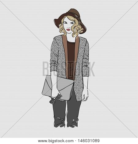 Beautiful Young Women In A Fashion Jacket And Hat With Clutch And Glasses. Vector Hand Drawn Illustr
