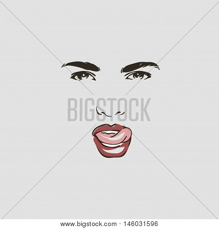 Beautiful Woman Face With Protruding Tongue, Hand Drawn Isolated Line Vector Illustration.