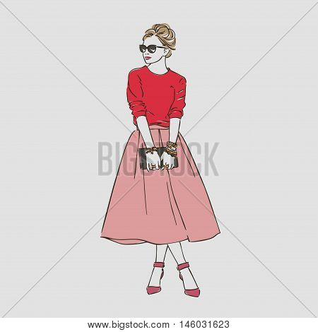 Beautiful Young Women In A Fashion Clothes In Glasses With Bag. Vector Hand Drawn Illustration.