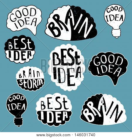 Set of labels with texts, Human brain with text - Best Idea, Good Idea, Brain, Bulb - Good Idea. Conceptual vector illustration for creative brainstorm metaphor.