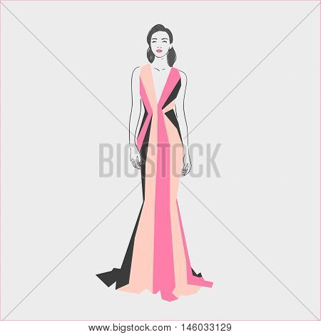 Beautiful Young Women In A Long Striped Evening  Dress With Retro Hairstile. Hand Drawn Vector Illus