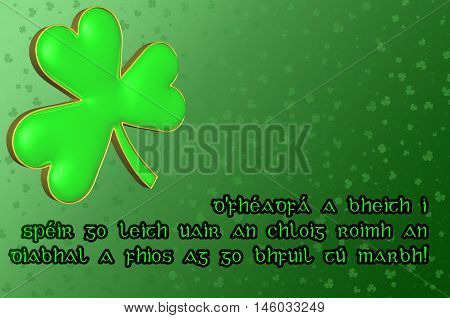 Saint Patrick's Day Card with green clover leaf and Irish blessing in Irish translating - May you be in heaven a half hour before the devil knows you're dead