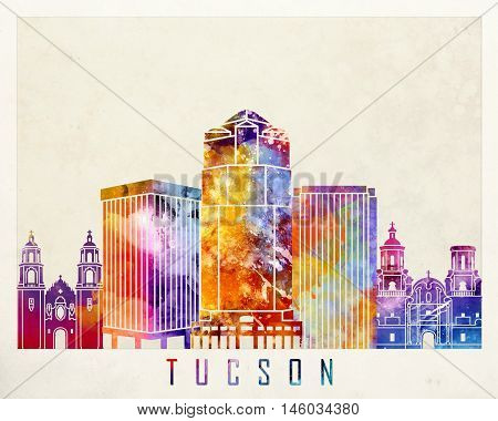Tucson landmarks skyline in artistic watercolor poster