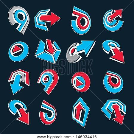 Geometric Abstract Blue And Red Vector Shapes. Collection Of Arrows, Navigation Pictograms And Multi