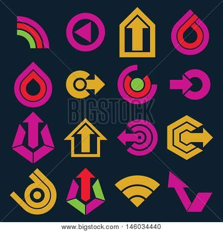 Vector Flat Abstract Icons Set, Simple Corporate Graphic Design Elements. Colorful Marketing Symbols