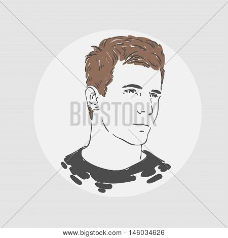 Handsome Young Man Portraite. Vector Hand Drawn Illustration.