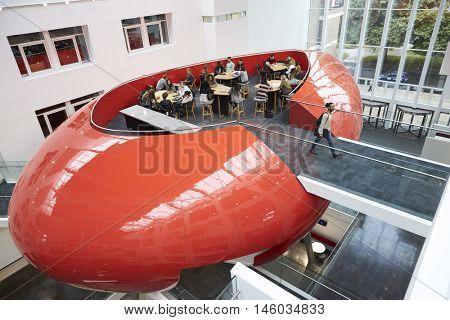 Design of university mezzanine social area, elevated view