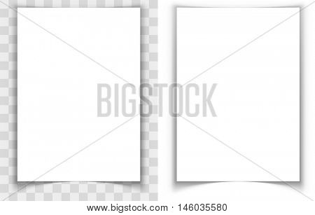 A4 paper page curled edges shadow effect vector template. Eps10 vector file with transparency.