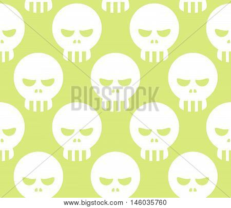 Seamless Halloween Human Skeleton Skull Pattern