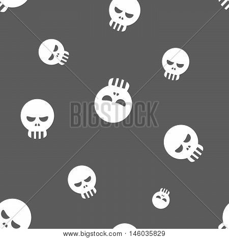Seamless Human Skull Pattern Background