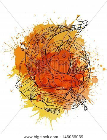 Vector illustration of Kazakh instruments with vibrant yellow watercolor splashes.