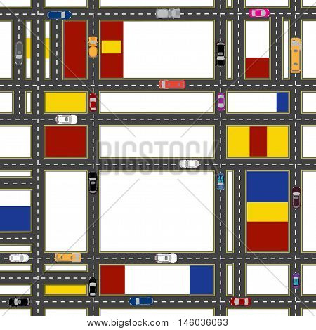 Abstract stylized urban neighborhoods. The movement of vehicles on city streets. Vector illustration