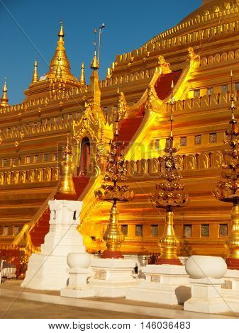 Shwezigon Pagoda is one of the biggest religious places in Bagan