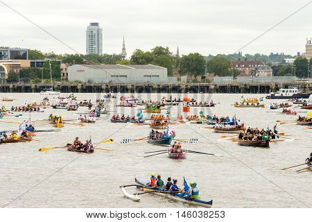 London United Kingdom - September 03 2016: The Great River Race at London's Millwall Dock Canary Wharf. Annual river marathon with 300 international crews competing to become the UK's Traditional Boat Champions.