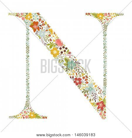 N letter with decorative floral ornament