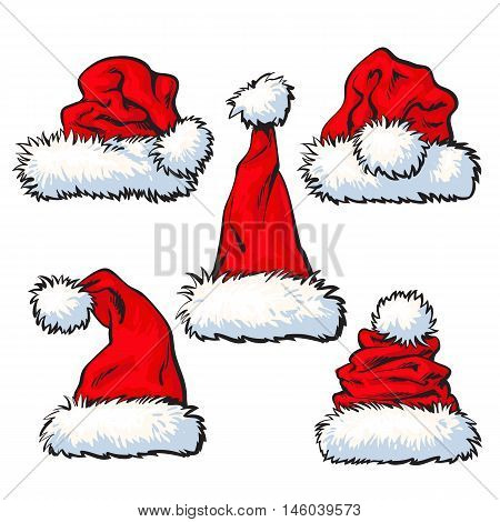 Set of red Santa Claus hats, sketch style vector illustration isolated on white background. Collection of traditional Santa Clause caps, Xmas celebration