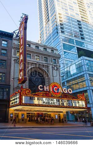 Chicago, USA - August 13 2015: Chicago theater with shows about to start on an early summer's evening