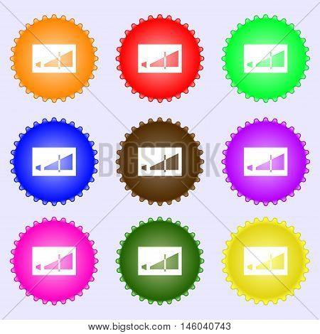 Volume Adjustment Icon Sign. Big Set Of Colorful, Diverse, High-quality Buttons. Vector