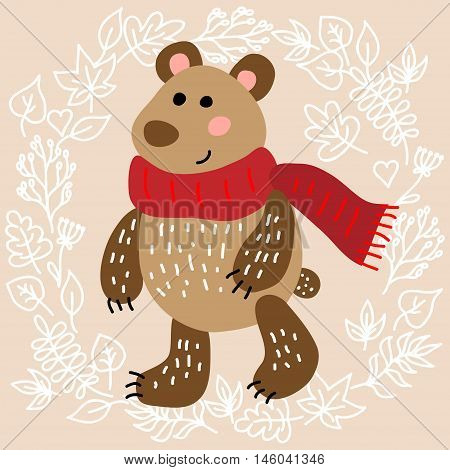 Cute bear on leaves background vector illustration