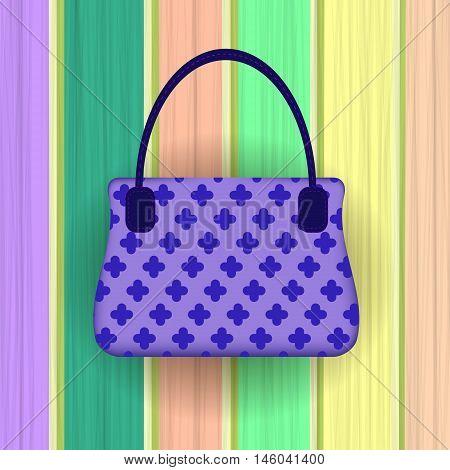 Blue Modern Womens Handbag on Colorful Planks Background.
