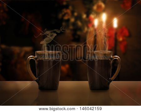Two mugs of hot black coffee on a background of a New Year's interior and candles. Drink hot. Holiday Christmas concept. Cozy fabulous magical atmosphere. Evening twilight